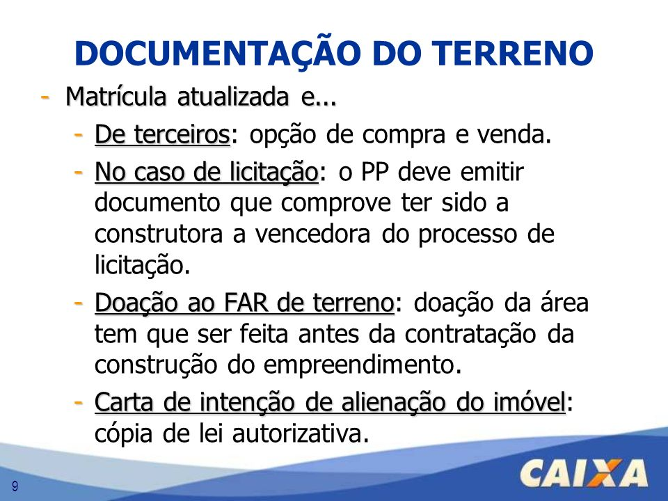 DOCUMENTAÇÃO DO TERRENO