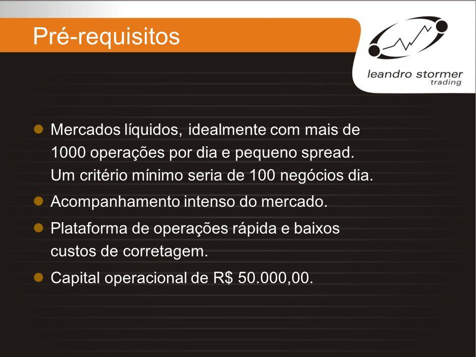 Pré-requisitos Mercados líquidos, idealmente com mais de 1000 operações por dia e pequeno spread. Um critério mínimo seria de 100 negócios dia.