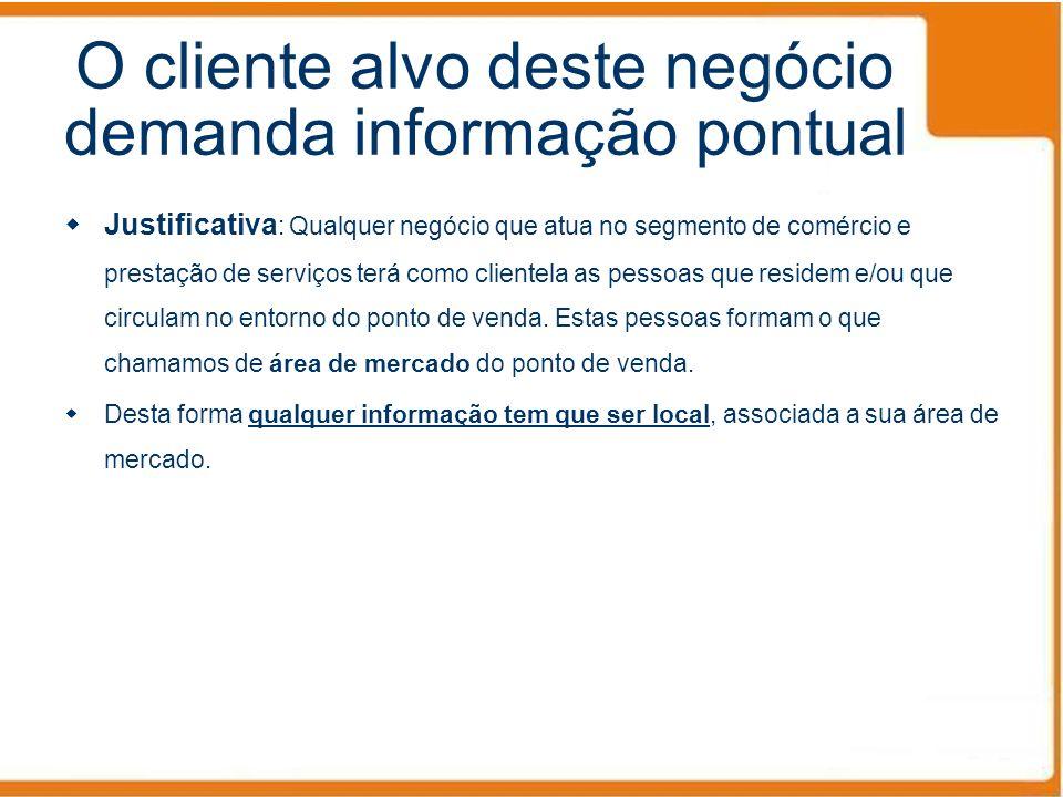 O cliente alvo deste negócio demanda informação pontual