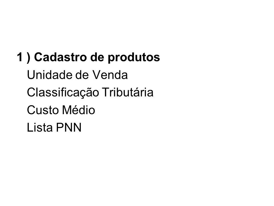 1 ) Cadastro de produtos Unidade de Venda Classificação Tributária Custo Médio Lista PNN
