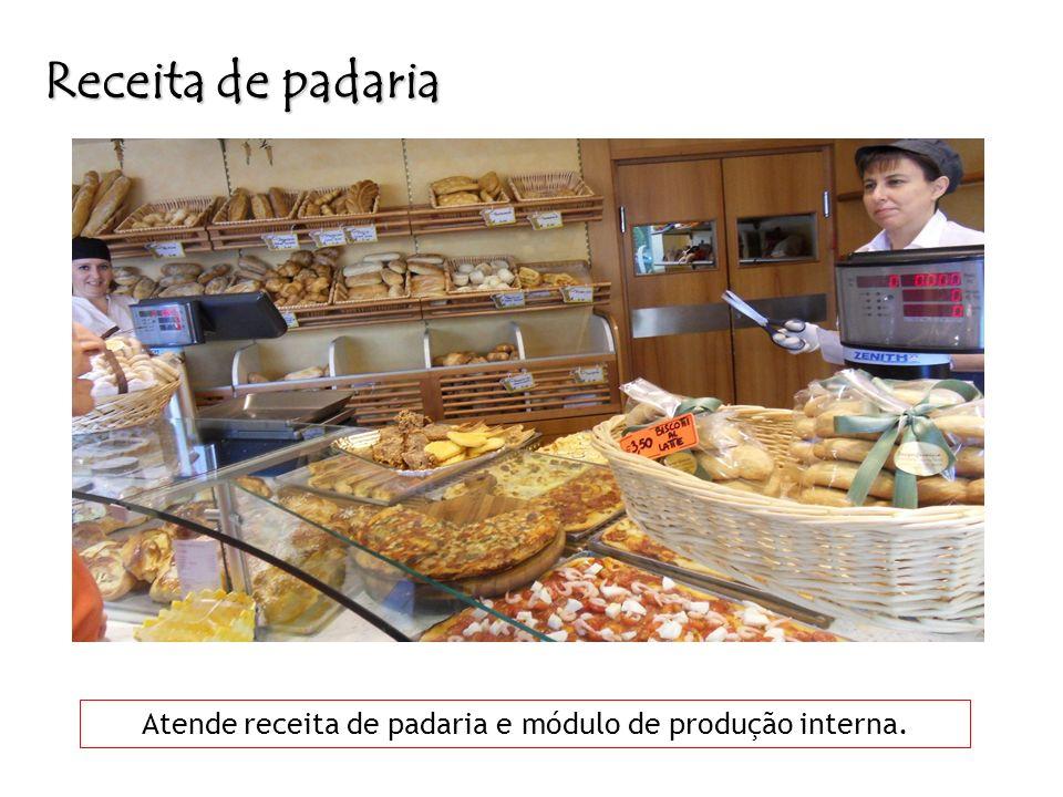 Atende receita de padaria e módulo de produção interna.
