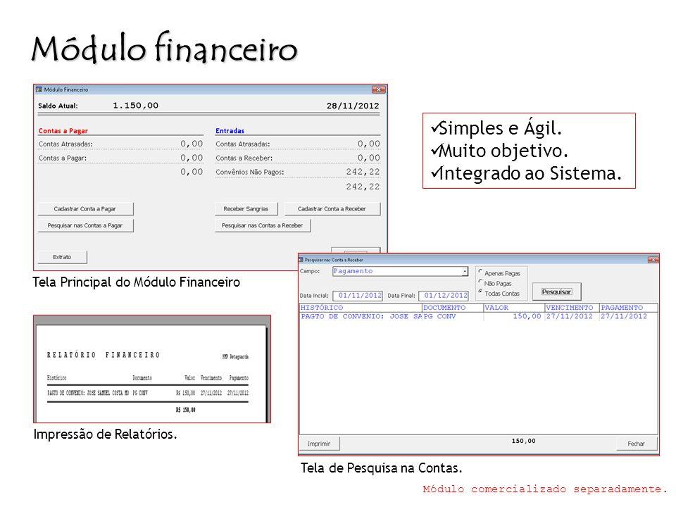 Módulo financeiro Simples e Ágil. Muito objetivo.