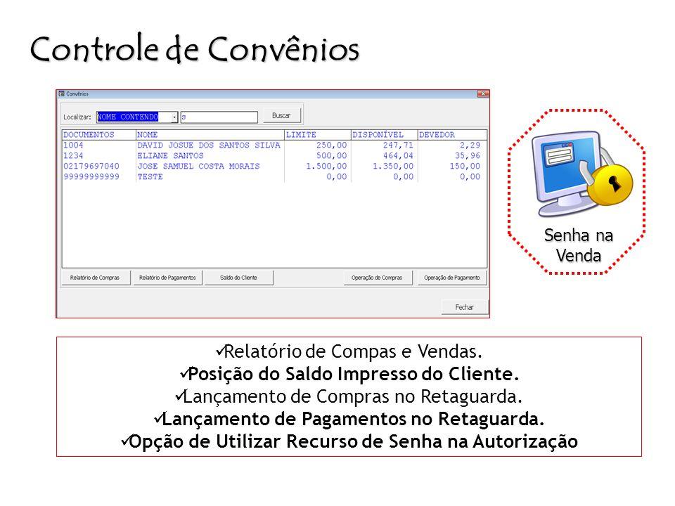 Controle de Convênios Relatório de Compas e Vendas.