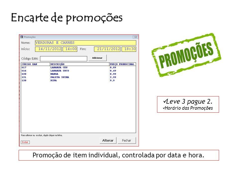 Promoção de item individual, controlada por data e hora.