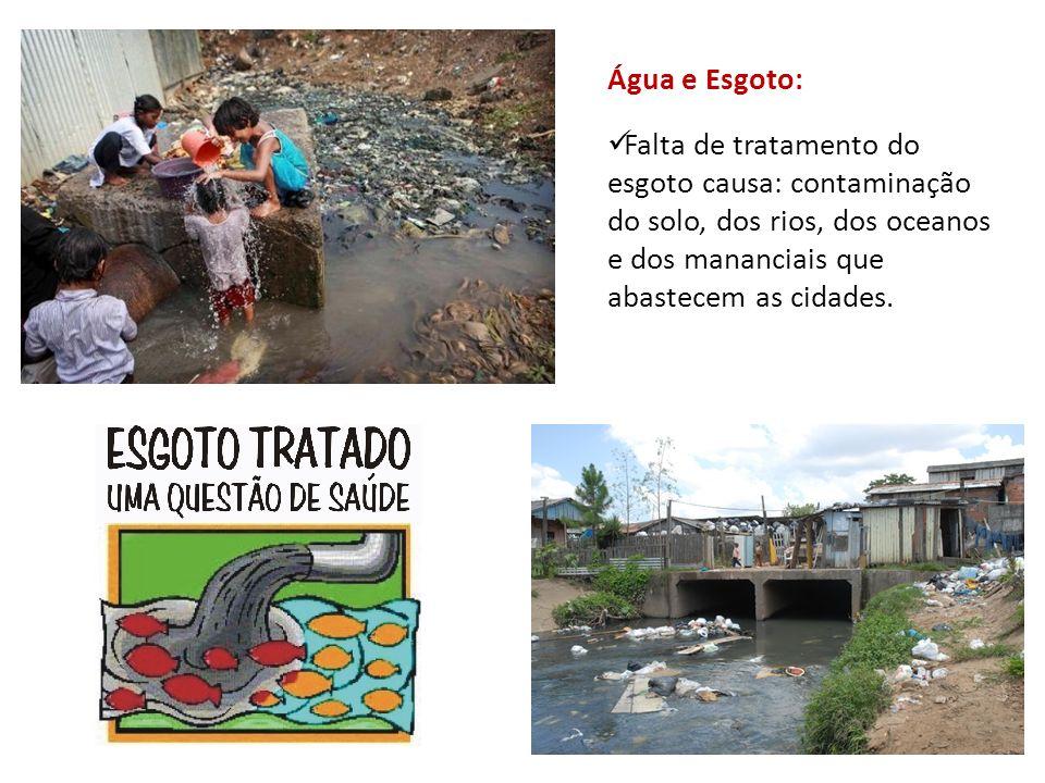 Água e Esgoto: Falta de tratamento do esgoto causa: contaminação do solo, dos rios, dos oceanos e dos mananciais que abastecem as cidades.