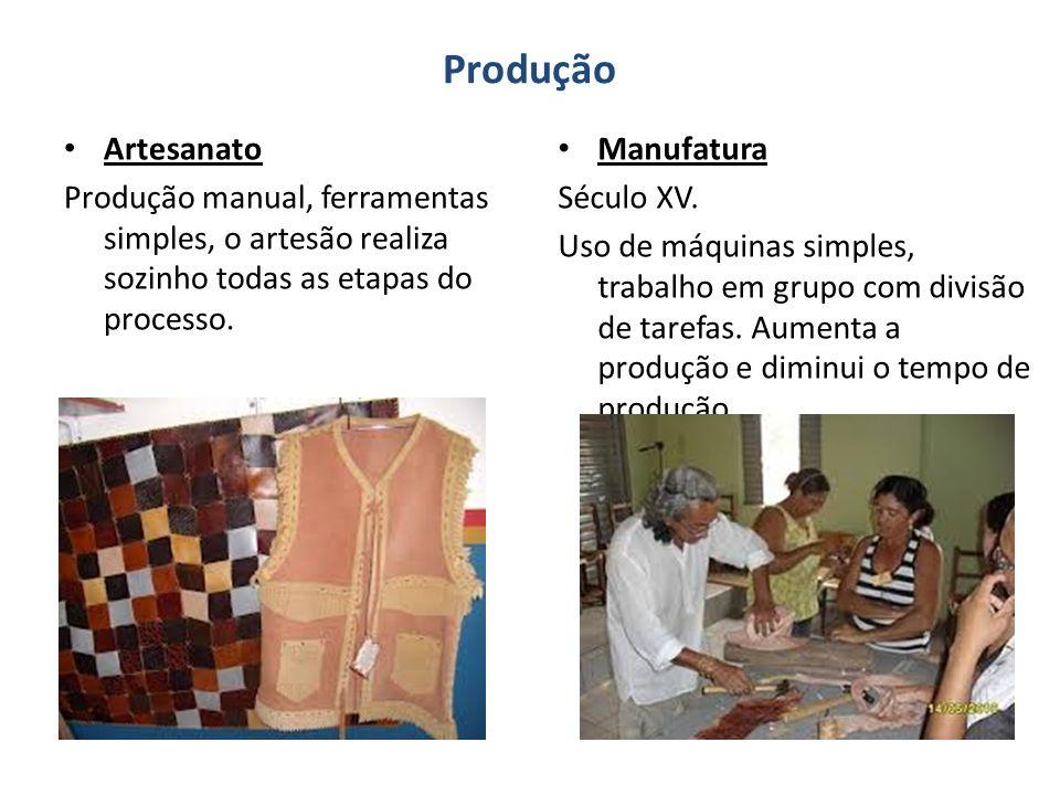 Produção Artesanato. Produção manual, ferramentas simples, o artesão realiza sozinho todas as etapas do processo.