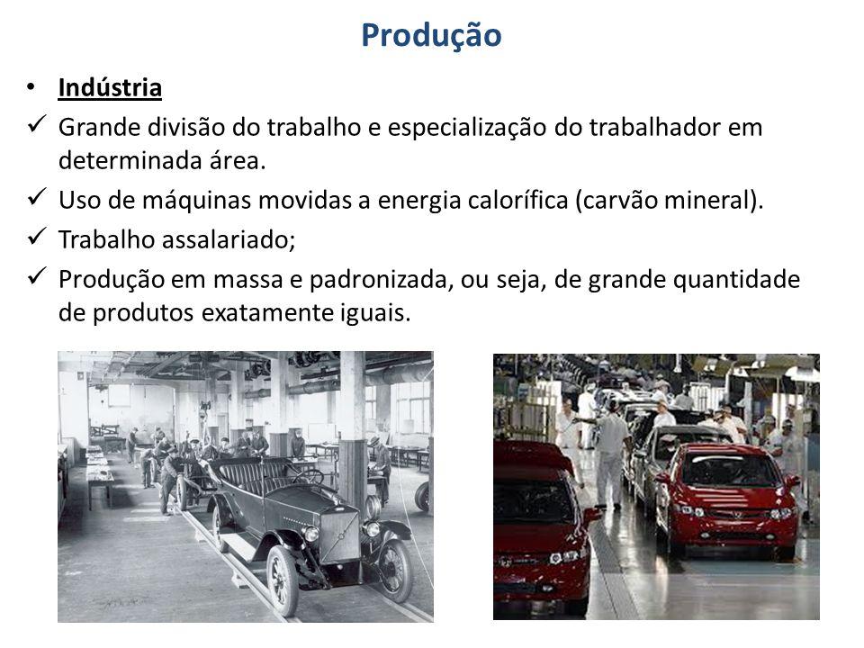 Produção Indústria. Grande divisão do trabalho e especialização do trabalhador em determinada área.