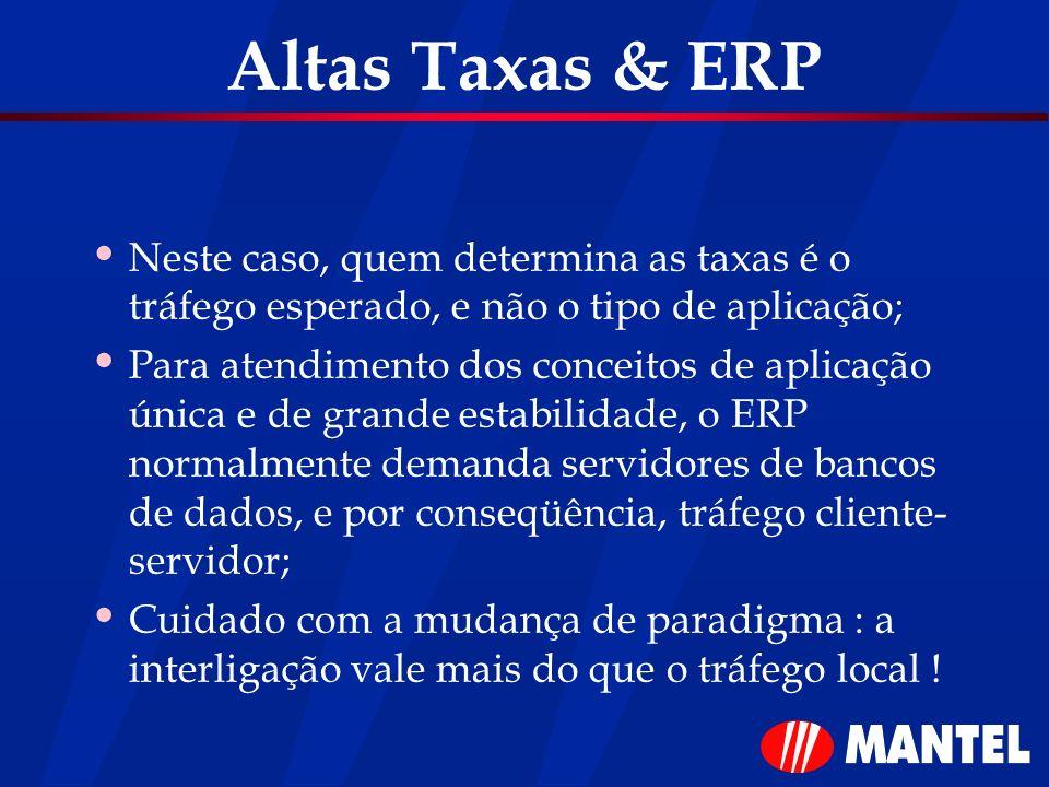 Altas Taxas & ERP Neste caso, quem determina as taxas é o tráfego esperado, e não o tipo de aplicação;