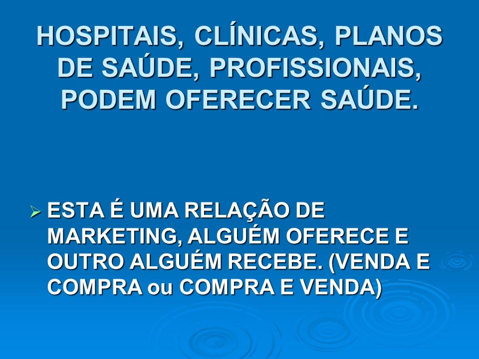 HOSPITAIS, CLÍNICAS, PLANOS DE SAÚDE, PROFISSIONAIS, PODEM OFERECER SAÚDE.
