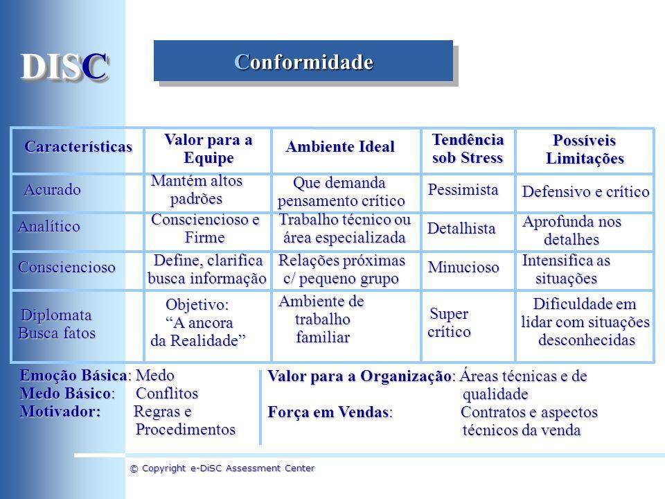 DISC Conformidade Características Valor para a Equipe Ambiente Ideal