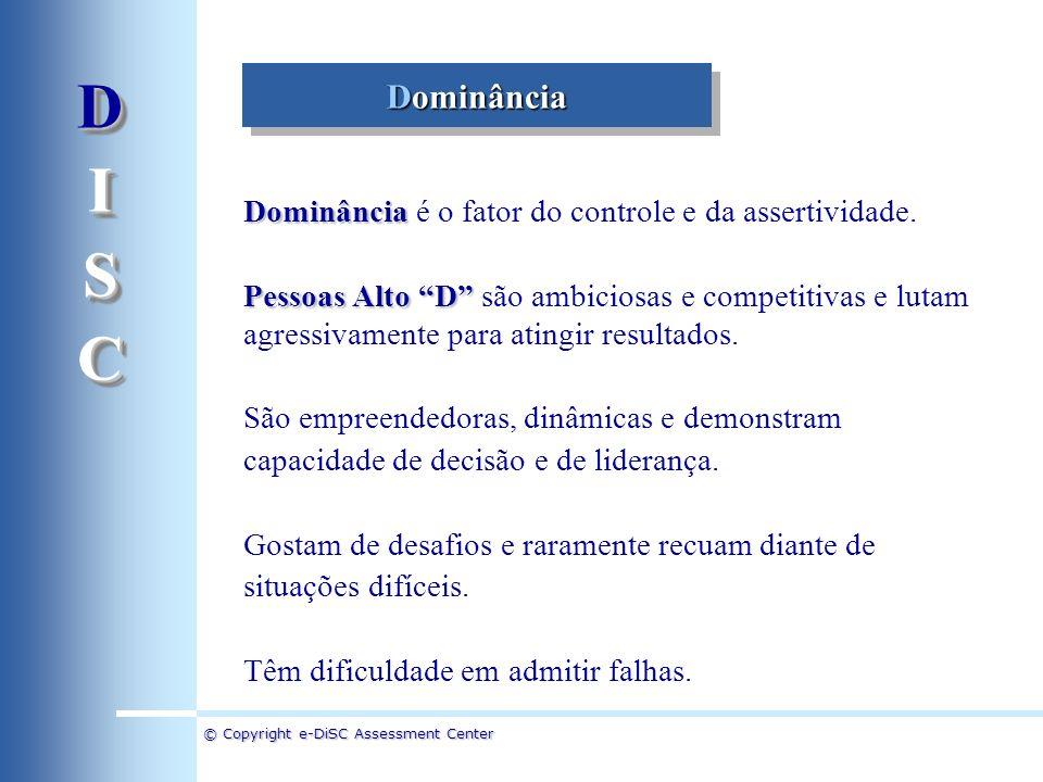D I. S. C. Dominância. Dominância é o fator do controle e da assertividade.