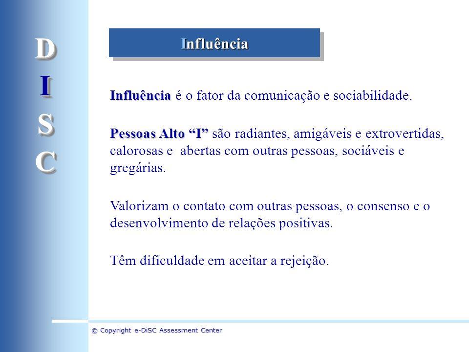 D I. S. C. Influência. Influência é o fator da comunicação e sociabilidade.