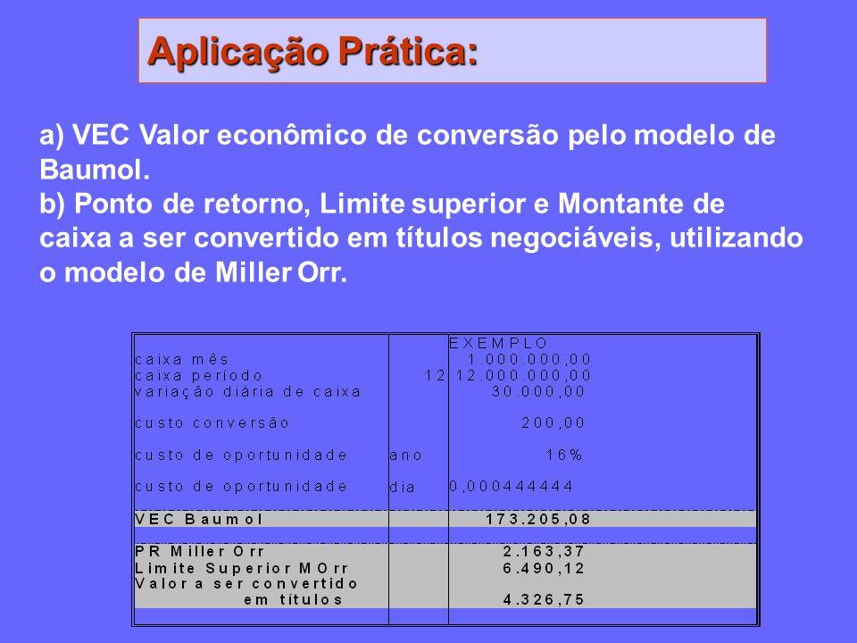Aplicação Prática: a) VEC Valor econômico de conversão pelo modelo de Baumol.