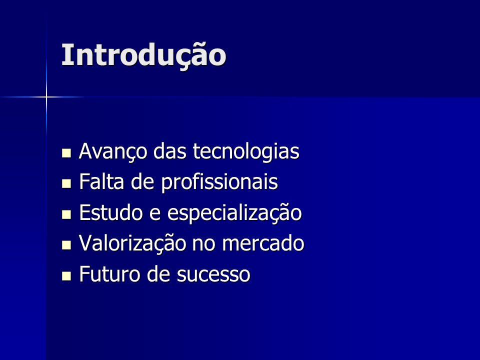 Introdução Avanço das tecnologias Falta de profissionais