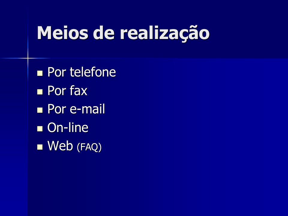 Meios de realização Por telefone Por fax Por e-mail On-line Web (FAQ)