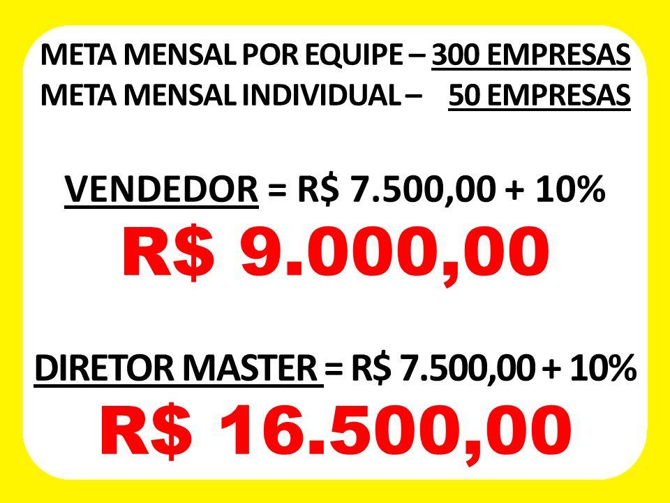 META MENSAL POR EQUIPE – 300 EMPRESAS META MENSAL INDIVIDUAL – 50 EMPRESAS