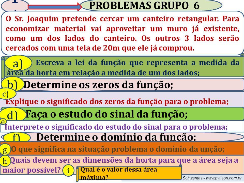 11 a) b) d) f) PROBLEMAS GRUPO 6 Determine os zeros da função;