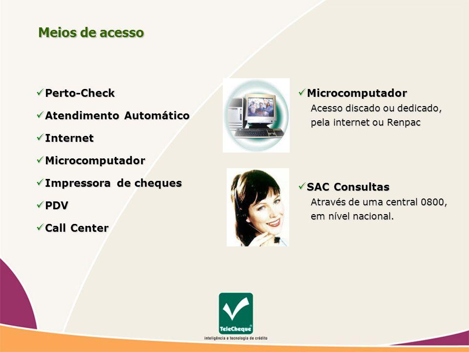 Meios de acesso Perto-Check Atendimento Automático Internet