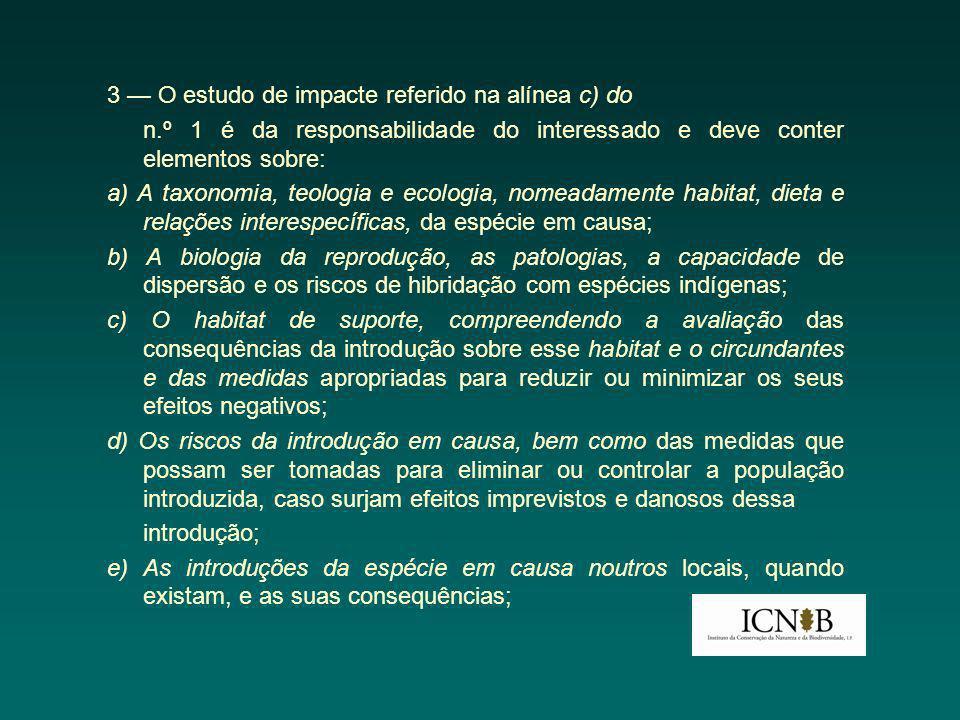 3 — O estudo de impacte referido na alínea c) do n