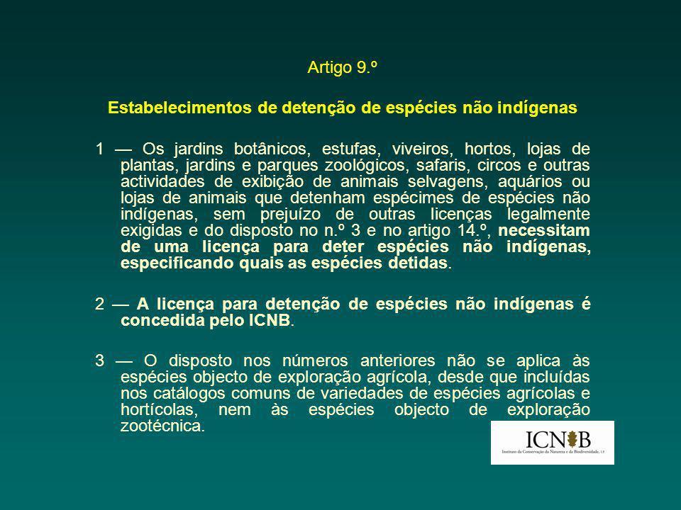 Estabelecimentos de detenção de espécies não indígenas