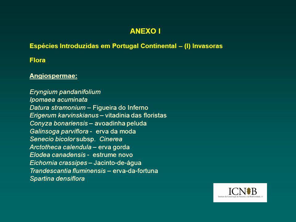ANEXO I Espécies Introduzidas em Portugal Continental – (I) Invasoras