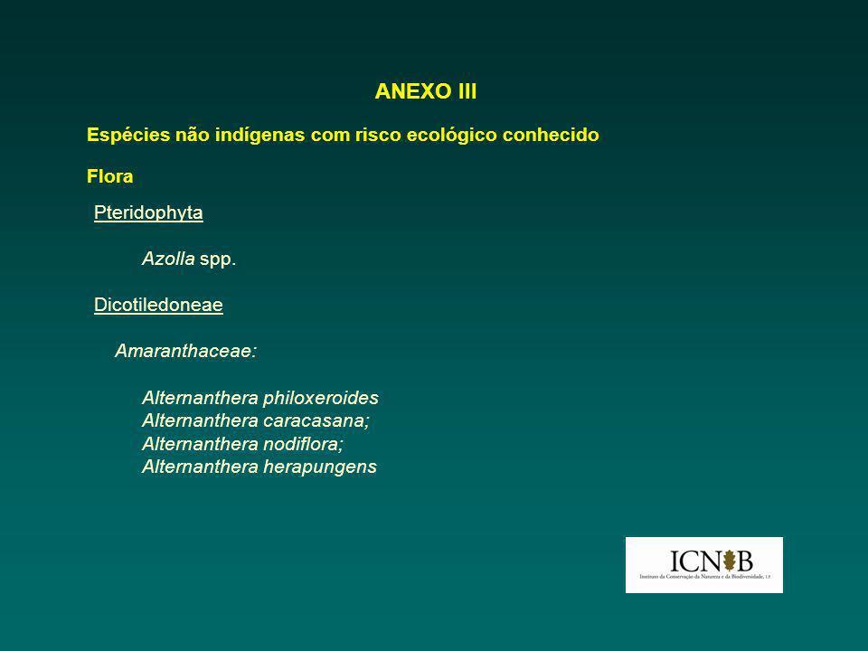 ANEXO III Espécies não indígenas com risco ecológico conhecido Flora