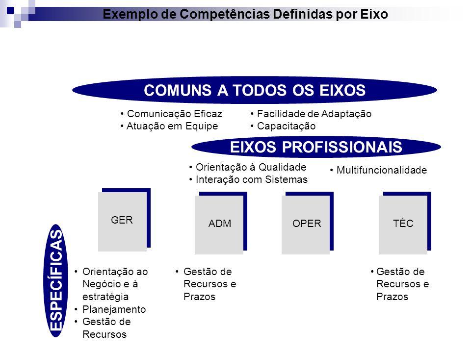 Exemplo de Competências Definidas por Eixo
