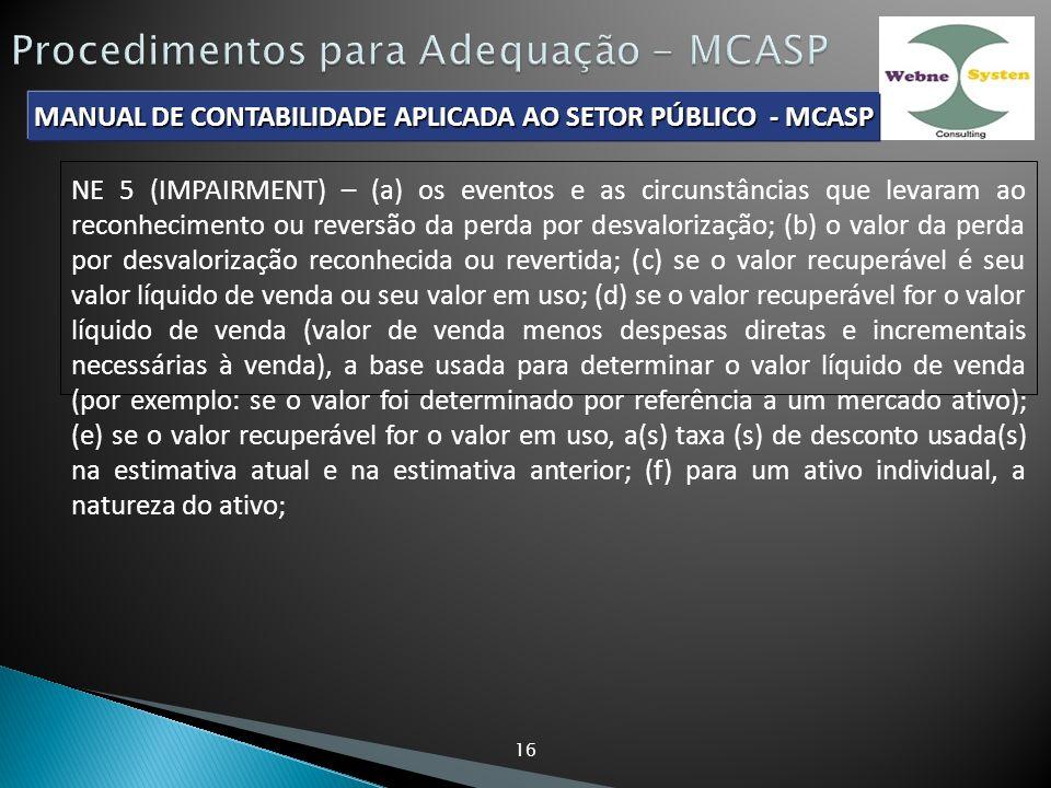MANUAL DE CONTABILIDADE APLICADA AO SETOR PÚBLICO - MCASP