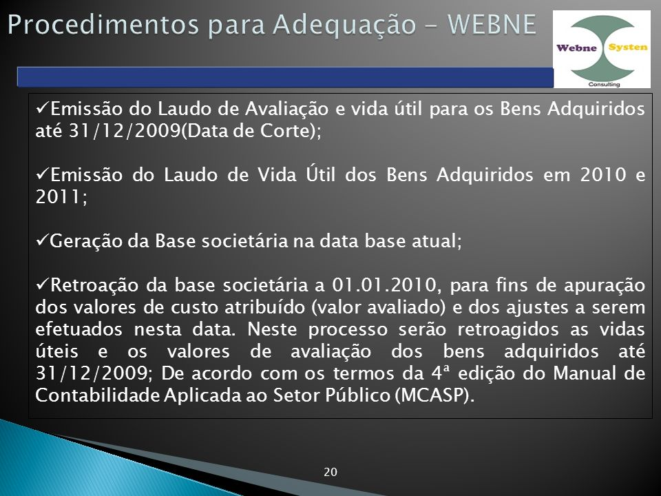 Procedimentos para Adequação - WEBNE