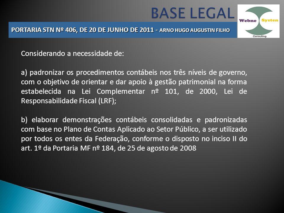 BASE LEGAL Considerando a necessidade de: