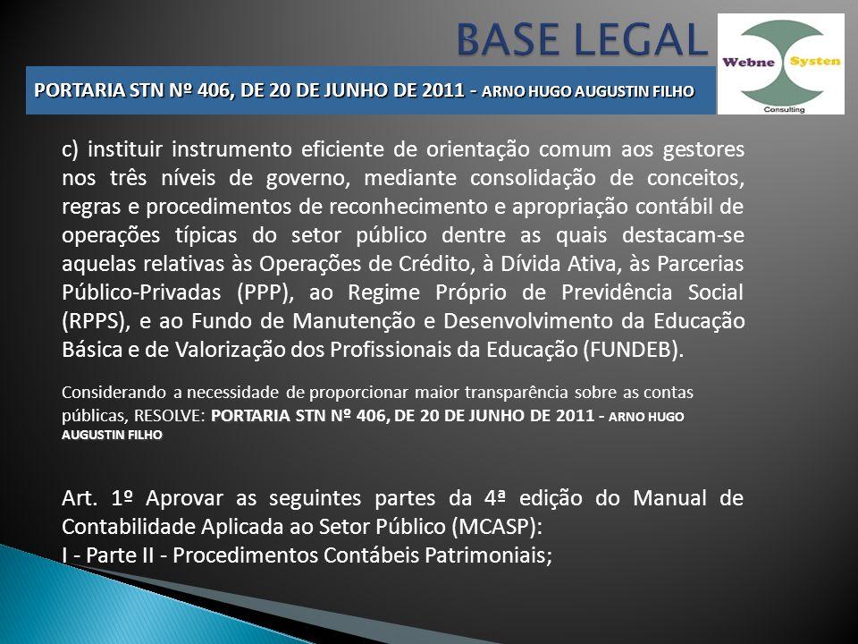 BASE LEGAL PORTARIA STN Nº 406, DE 20 DE JUNHO DE 2011 - ARNO HUGO AUGUSTIN FILHO.
