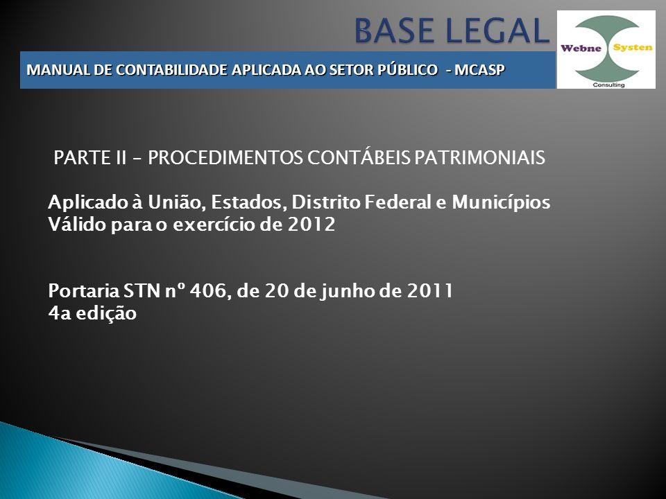 BASE LEGAL PARTE II – PROCEDIMENTOS CONTÁBEIS PATRIMONIAIS