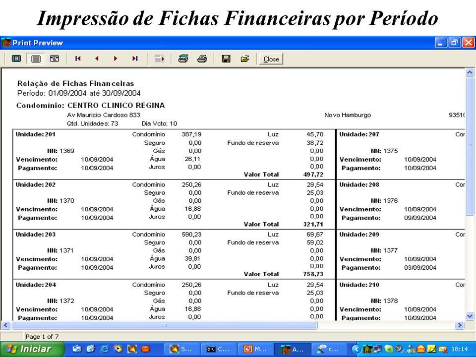 Impressão de Fichas Financeiras por Período