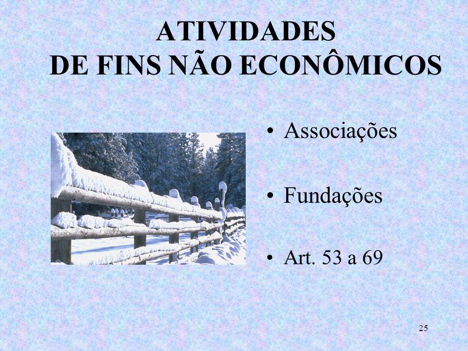 ATIVIDADES DE FINS NÃO ECONÔMICOS