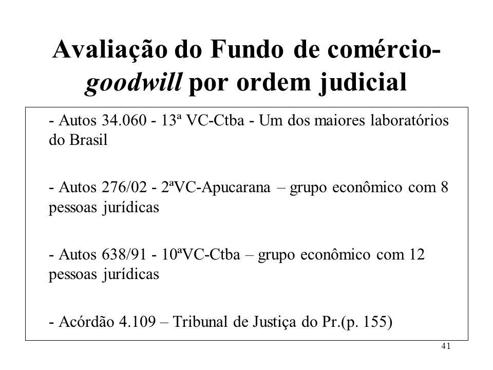 Avaliação do Fundo de comércio-goodwill por ordem judicial