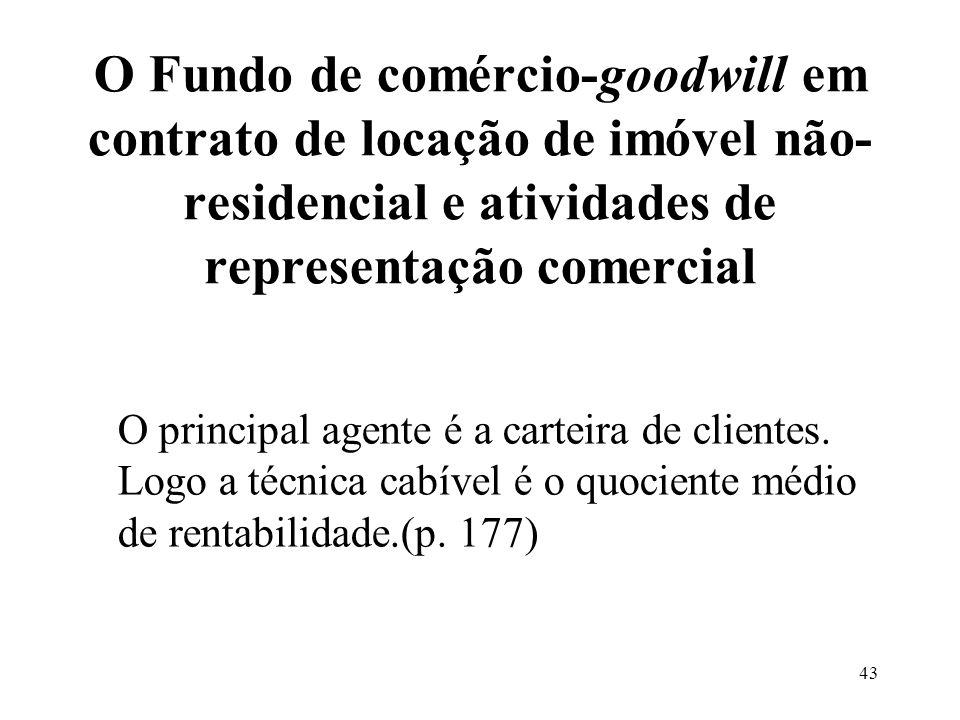 O Fundo de comércio-goodwill em contrato de locação de imóvel não-residencial e atividades de representação comercial