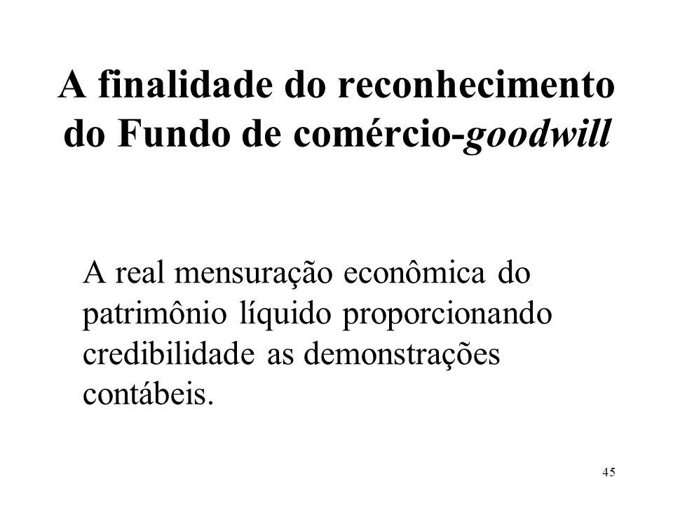 A finalidade do reconhecimento do Fundo de comércio-goodwill