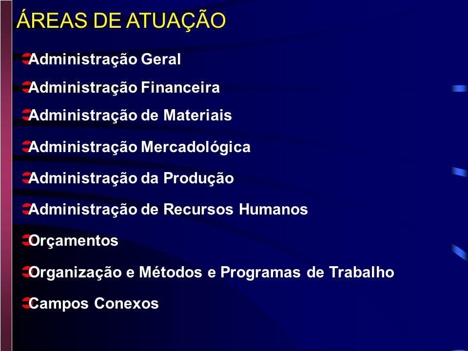 ÁREAS DE ATUAÇÃO Administração Geral Administração Financeira