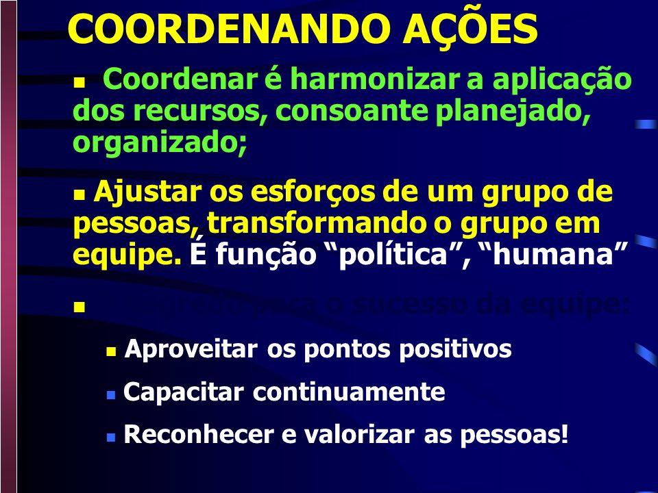 COORDENANDO AÇÕES Coordenar é harmonizar a aplicação dos recursos, consoante planejado, organizado;