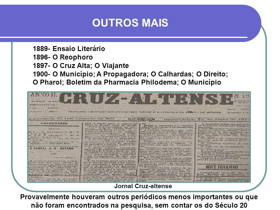 OUTROS MAIS 1889- Ensaio Literário 1896- O Reophoro
