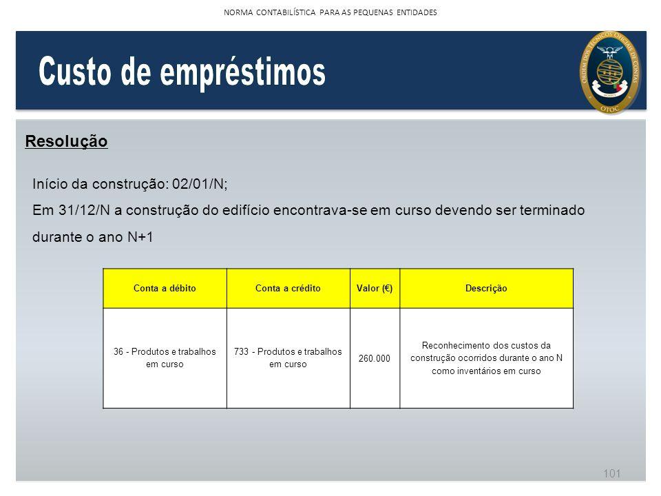 Custo de empréstimos Resolução Início da construção: 02/01/N;