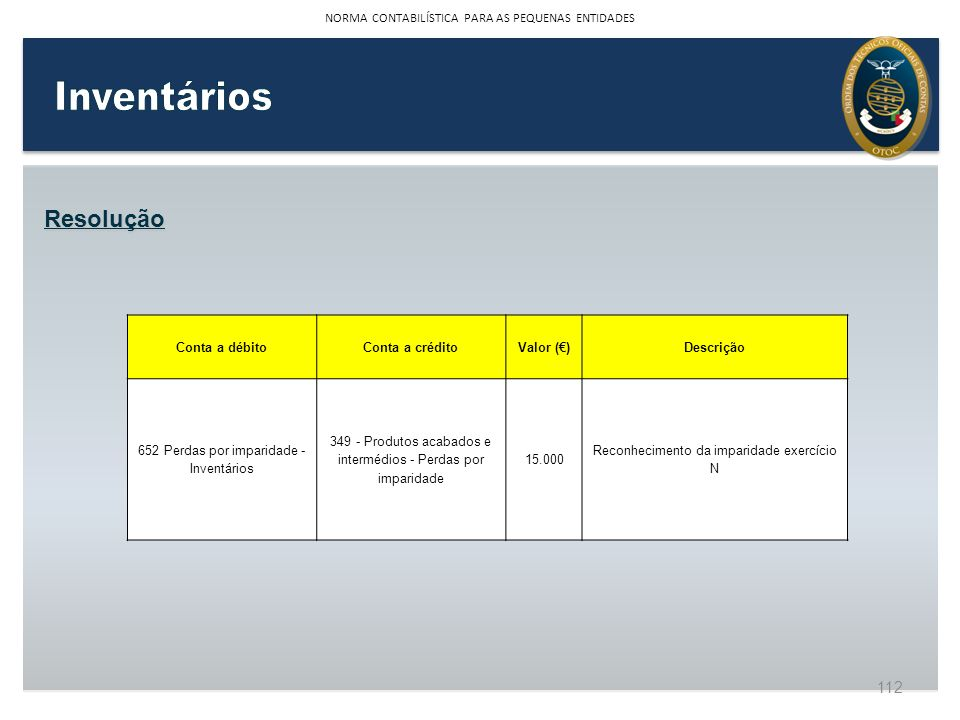 Inventários Resolução NORMA CONTABILÍSTICA PARA AS PEQUENAS ENTIDADES