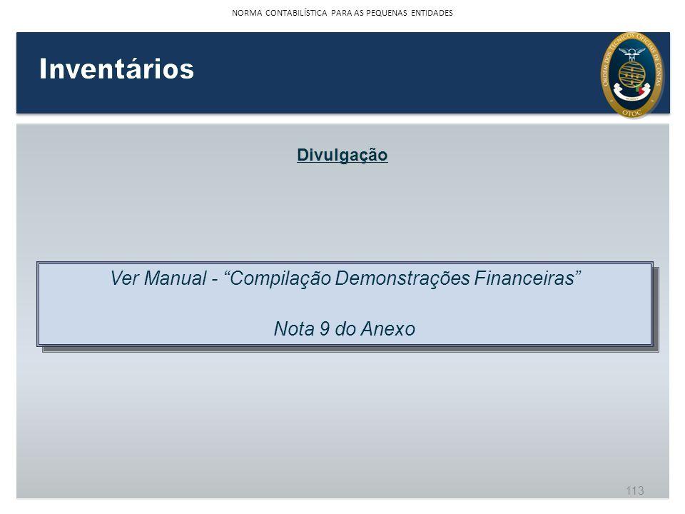 Inventários Ver Manual - Compilação Demonstrações Financeiras