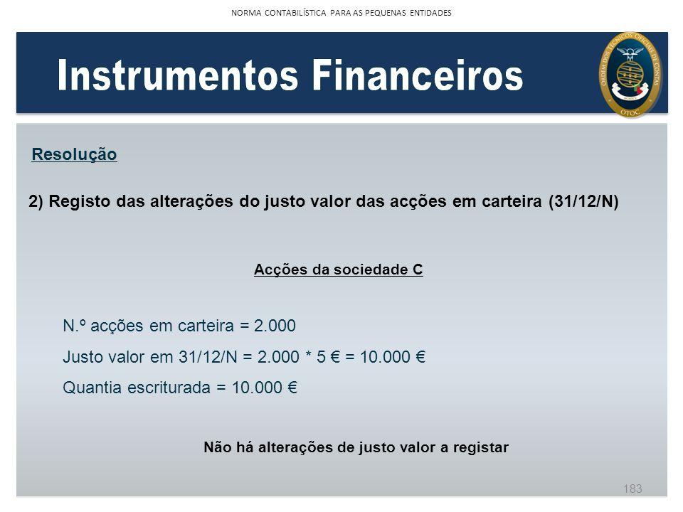Instrumentos Financeiros Não há alterações de justo valor a registar