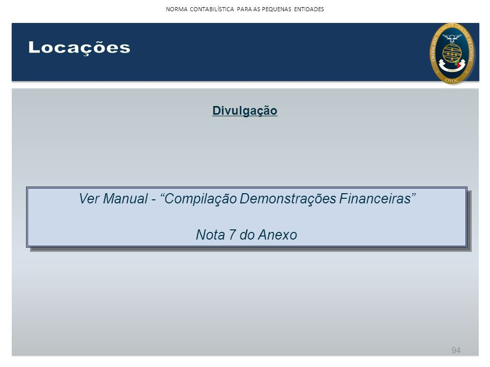 Locações Ver Manual - Compilação Demonstrações Financeiras