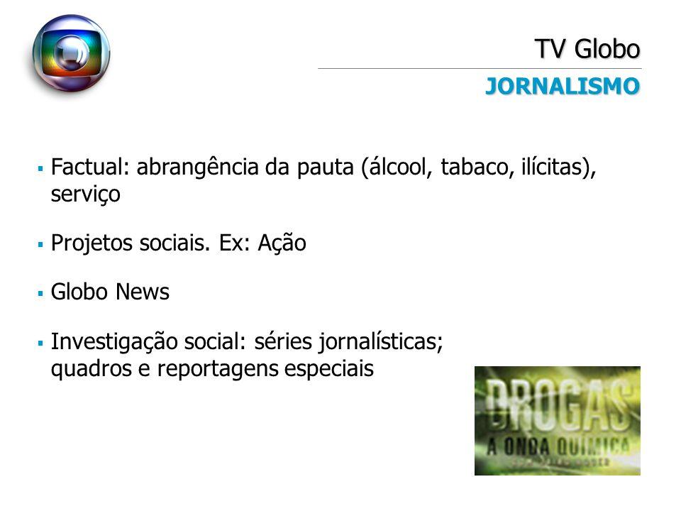 TV Globo JORNALISMO. Factual: abrangência da pauta (álcool, tabaco, ilícitas), serviço. Projetos sociais. Ex: Ação.