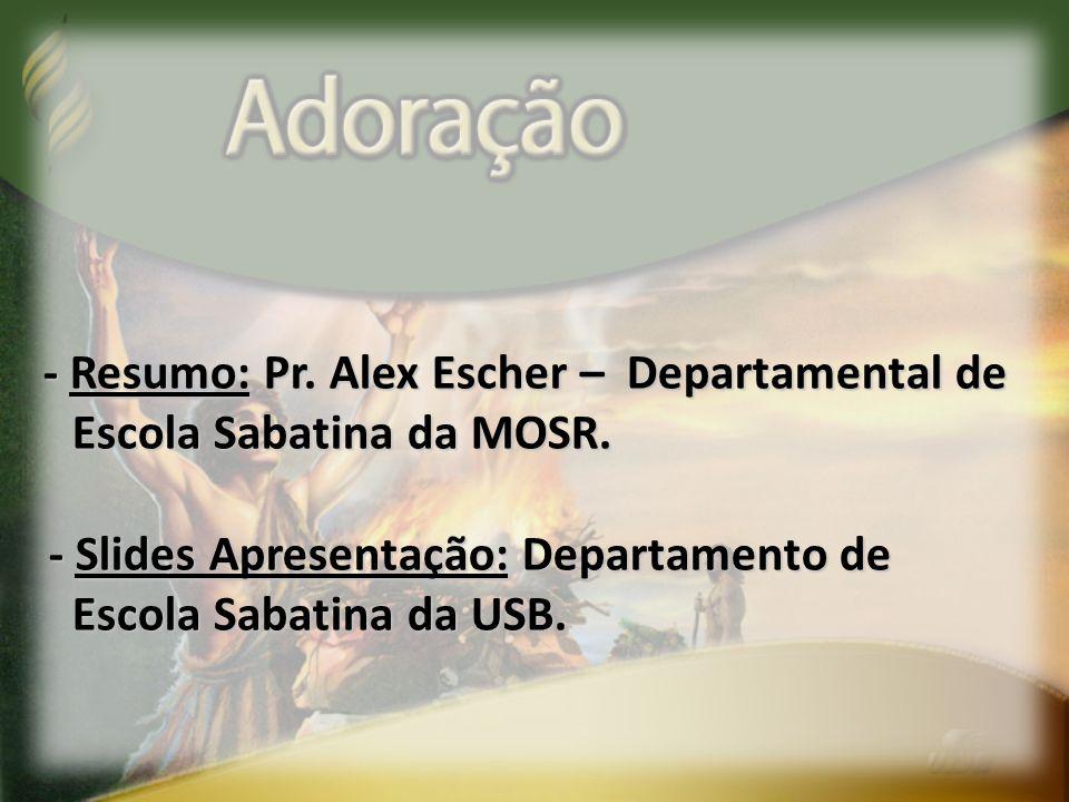- Resumo: Pr. Alex Escher – Departamental de
