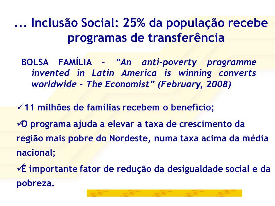 ... Inclusão Social: 25% da população recebe programas de transferência