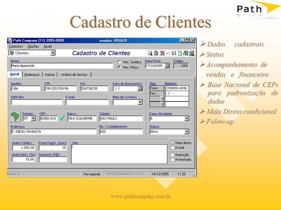 Cadastro de Clientes  Dados cadastrais  Status  Acompanhamento de