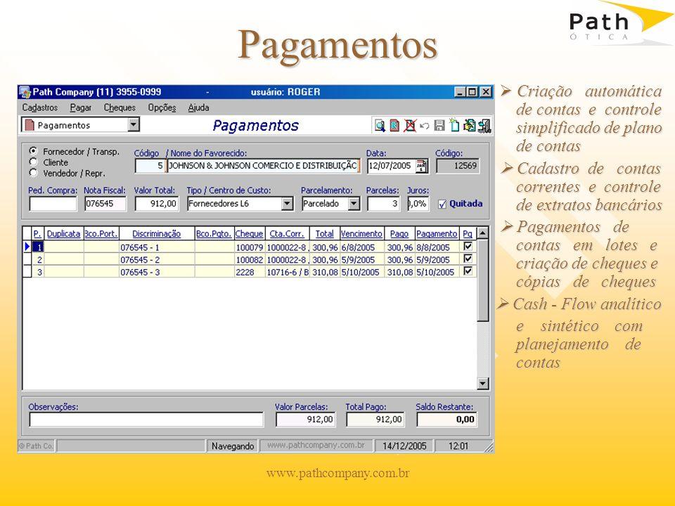 Pagamentos  Criação automática de contas e controle simplificado de plano de contas.